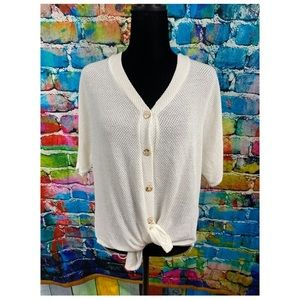 Jolie tie front white knit top Small